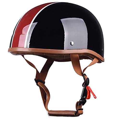 ACEMIC Casco de motocicleta para adulto, casco de motocicleta Pilot German Chopper Prince para casco de motocicleta Cruiser Scooter, casco de media cara, certificación ECE B, L