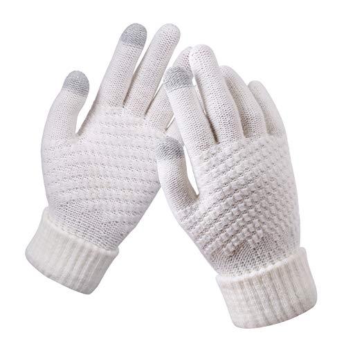 Luvas de Tela de Toque Inteligentes Femininas Masculinas Quentes Inverno Alongamento Tricotadas Luvas Inteiras para Dedos - Branco