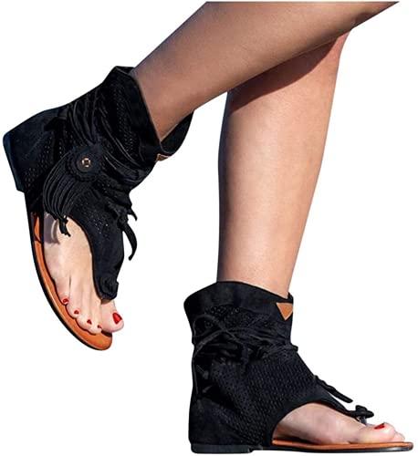 Sandalias Bohemias Retro Con Borlas Para Mujer, Chanclas Sandalias Planas Con Flecos Sandalias Cómodas Con Punta Abierta, Zapatos De Playa Romanos Botas, Zapatillas Antideslizantes Con Correa En T San