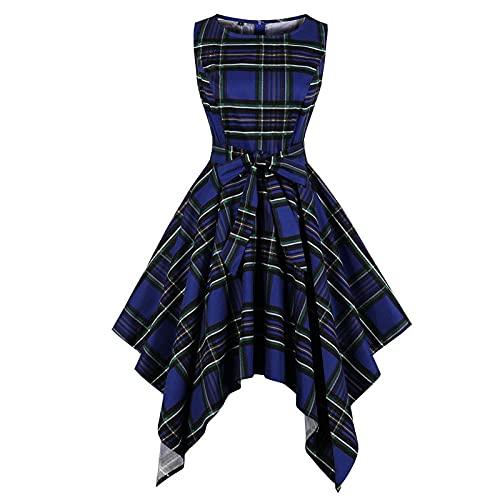 YLDCN Faldas para Niña Vestidos De Cintura Alta Asimétricos Largos Sin Mangas De Verano Sin Mangas para Mujer De Fiesta A Cuadros-Blue_4XL