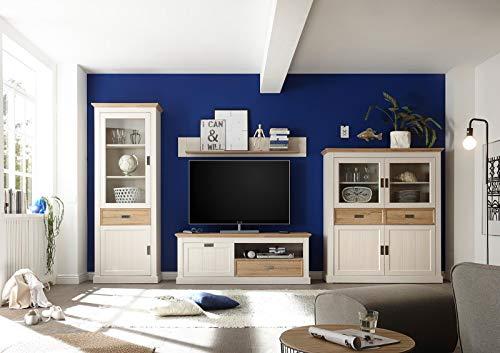 lifestyle4living Anbauwand in Weiß, Moderne Wohnwand mit Absetzungeni n Wildeiche-Dekor, Fernsehwand im Landhausstil mit viel Stauraum, 364 cm