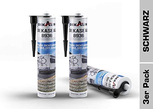 3x Dekalin Dekaseal Dichtungsmasse 8936 Schwarz (Kartusche) 310 ML, abtupfbar für Rahmen, Abläufe oder Wohnwagen und Wohnmobil Luken