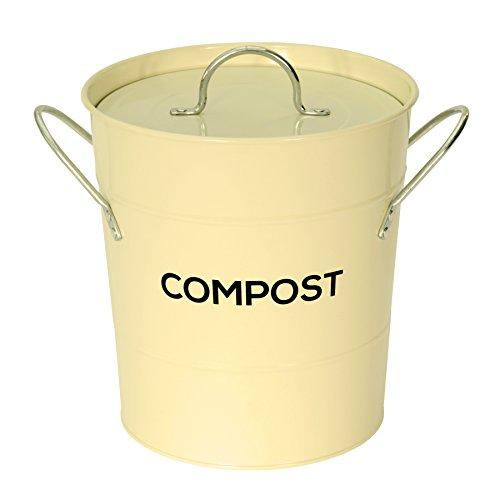 The Caddy Company Creme Metall Küche Compost Caddy - Kompostierung Bin für Lebensmittel Waste Recycling