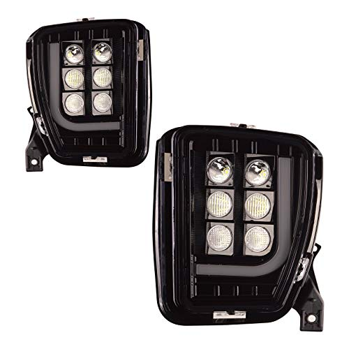 Tecoom LED Upgrade Fog Light Assemblies for 2013-2017 Dodge Ram 1500 Pair Left and Right Side 2psc with LED Bulbs