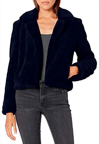 Blank NYC Faux Fur Cropped Jacket in Open Seas Navy Blue LG