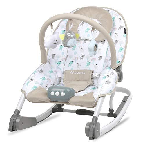 KIDWELL TUMI Multifunktional Babywippe 2in1 | Liege mit Spielbogen & Vibration & Melodien & Licht | ab Geburt bis 18 kg verwendbar | Moskitonetz im Set | Hirsche-Muster