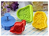 Set of 4 Star Wars Plunger Cookie Cutters - Darth Vader, C-3PO, Yoda and Chewbacca - Amazing Cake Mold Decoration Tool For Baking in Kitchen - Multi-Colour