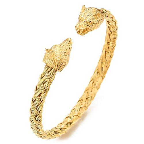 JewelryWe Schmuck Herren Armband Edelstahl Gegenüber Wolf Wolfskopf geflochten Draht Kabel Wikinger Biker Offen Armreif Armspange Gold