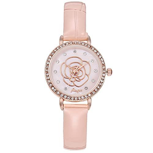 RTUQ Reloj de mujer con diseño de flor, fino, esfera de concha de diamante con diamantes de punto, correa de acero inoxidable, reloj de cuarzo, regalo para mujeres, rosa,