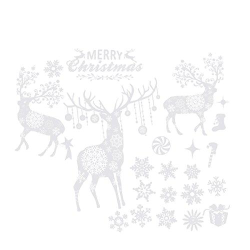OULII Weihnachten Fensterbilder Hirsch Schneeflocken Frohe Weihnachten Wandaufkleber für Glastür Geschäften Fenster Dekor 55 x 38 cm