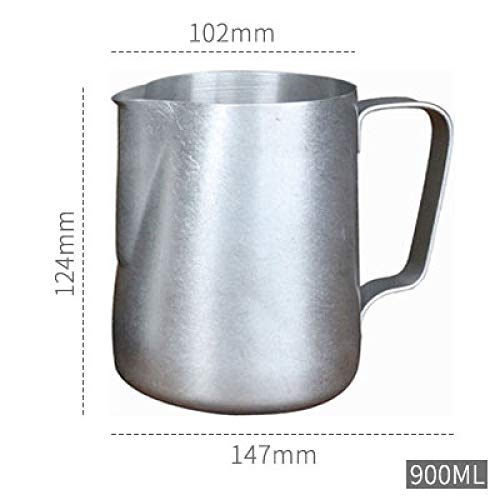 DFHTR Milchkanne 150/300 / 600Ml Kaffee Milchkanne Edelstahl Schaumkrug Pull Flower Cup Espresso Frothers Tasse Kaffee Barista Tools