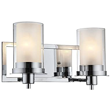 Designers Impressions Juno Polished Chrome 2 Light Wall Sconce / Bathroom Fixture with Clear and Frosted Glass: 73468