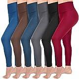Abodhu 6 Pack Fleece Lined Leggings Women High Waist Soft Stretch Slimming Winter Warm Full Length Leggings Plus Size