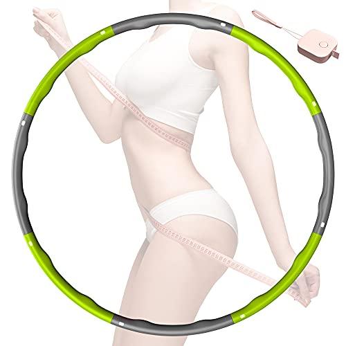 MPIO Hula Reifen Hoop,schnell abnehmen durch lustige Art zu trainieren, 6-8 Segmente Abnehmbarer Hula Reifen Hoop Geeignet Für Fitness/Sport/Zuhause/BüRo/Bauchformung (1.2Kg) Grün