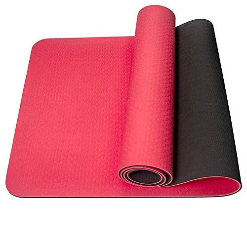 BAWAQAF Esterilla de yoga, con bolsa de malla de 6 mm de grosor, antideslizante, esterilla de yoga portátil, esterilla de yoga para hacer ejercicio