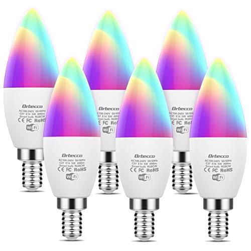 Orbecco [6PZS E14 Bombilla LED Inteligente WiFi 5W, RGB+W, Bombilla Vela Elegante Smart Bulb Control de Voz Compatible con Alexa Echo, Google Home con 16 Millones de RGB - Blanco