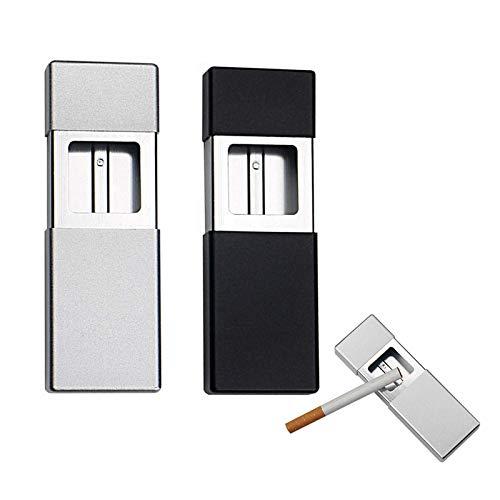 Posacenere tascabile Androxeda, 2 pezzi, posacenere tascabile per sigarette, posacenere portatile, posacenere da viaggio, mini posacenere per sigarette, per il trasporto, uso esterno (nero e argento)