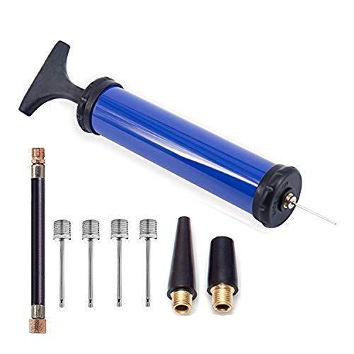 SZSHIMAO balpomp, draagbare mini-handpomp Inflator Pro Sports Ball Tool Adapter naalden handige en effectieve luchtpomp voor basketbal, voetbal, rugby, volleybal ballen zwemring (blauw)