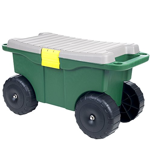 PURE GARDEN 75-MJ2011 20icnhes Plastic Garden Storage Cart & Scooter