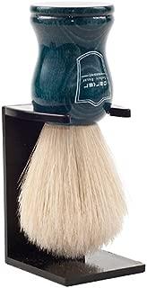 Parker Safety Razor Handmade 100% Deluxe Boar Bristle Shaving Brush - - Blue Wood Handle - Brush Stand Included