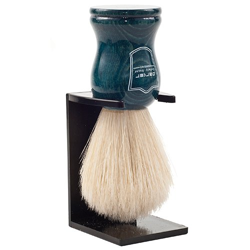 Parker Safety Razor Handmade 100% Deluxe Boar Bristle Shaving Brush - - Blue Wood Handle - Brush Stand Included