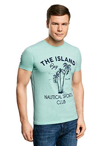 oodji Ultra Hombre Camiseta de Algodón con Estampado Palmeras, Turquesa, ES 46-48 / S