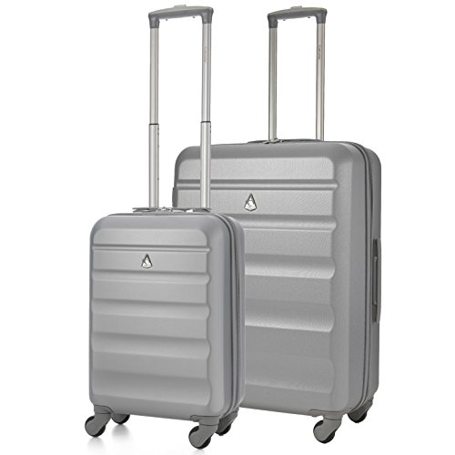Aerolite Super Lightweight ABS Hard Shell Travel Suitcase Luggage Set with 4 Wheels (Cabin + Medium, Silver)