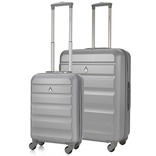Aerolite Super Lightweight ABS Hard Shell Travel Suitcase Luggage Set with 4 Wheels (Cabin + Medium, Silver)
