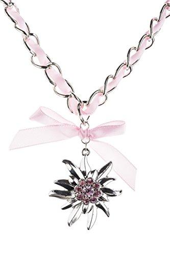 Trachtenkette Edelweiss mit Satinband Schleife und eleganten Gliedern Halskette für Dirndl und Lederhose (Rosa)