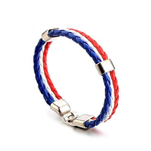 Yinew Frankreich (blau, weiß, rot) Pu Leder Münze Armband Weben Nationalflagge Farbe Lederarmband World Cup Land Armband