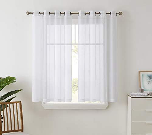 """HLC.ME 2 Piece Semi Sheer Curtains Window Treatment Grommet Voile Panels for Living Room, Bedroom, & Kids Room (54"""" W x 63"""" L, White)"""