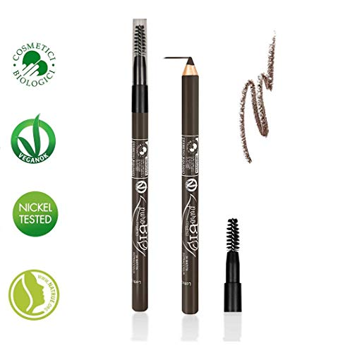 PuroBIO Certified Organic Multitasking Eye and Eyebrow Pencil and Brush with Plant Oils and Vitamin E. Perfect for Extra Sensitive Eyes - 28 DARK TAUPE. ORGANIC. VEGAN. NICKEL TESTED. MADE IN ITALY