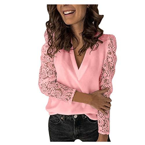 Oberteil Damen Elegant Langarmshirt Damen Bluse Herbst T-Shirt V-Ausschnitt Mode...