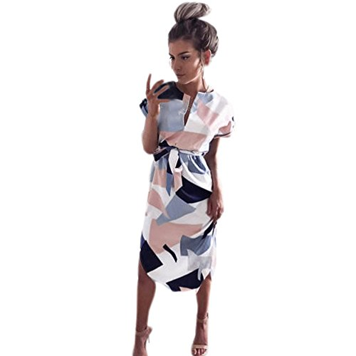Binggong Kleid Damen, Frauen Mode Quadratisches Muster Kurzarm Partei Abend V-Ausschnitt Langes Kleid Sundress Cocktailkleid Freizeit Strand Sommerkleid (Sexy Rosa, XL)