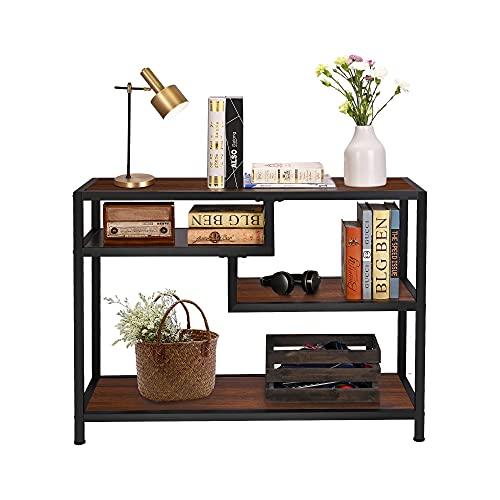 Tavolo consolle, piccolo tavolo da ingresso con 4 ripiani, divano in legno stretto per corridoio, soggiorno, 100 x 35 x 74,5 cm