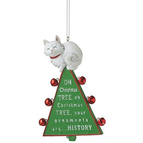 'Oh Christmas Tree' Cat Resin Christmas Ornament