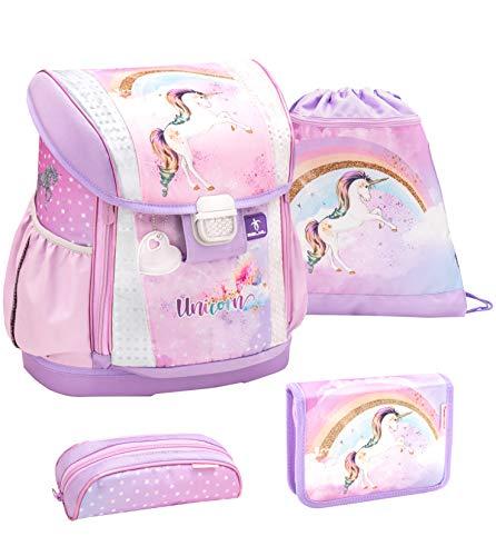 Belmil Ergonomischer Schulranzen Set 4 - teilig Größen verstellbar Mädchen 1. 2. 3. 4. klasse - gepolsterter Hüftgurt und Brustgurt/Einhorn, Unicorn/Lila, Rosa (404-20 Rainbow Unicorn)
