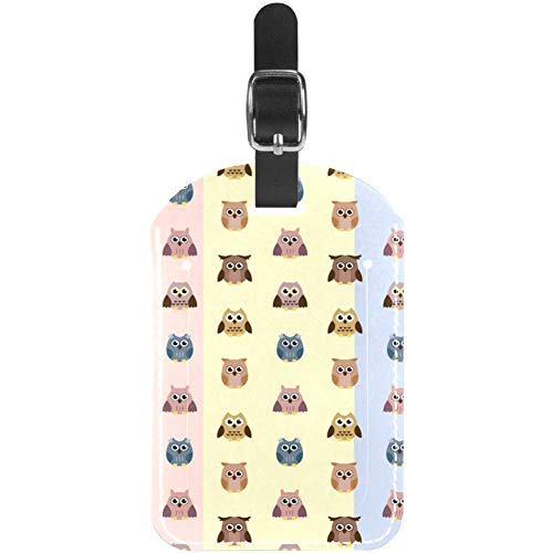 Luggage Tags Cartoon Owls Pattern Leather Travel Suitcase Labels 1 Packs