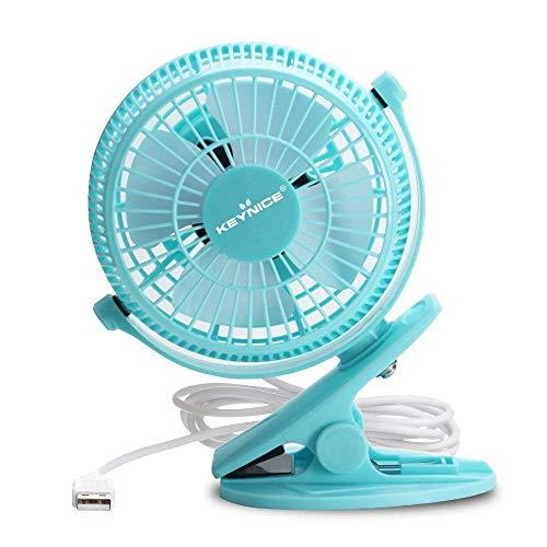 KEYNICE USB Desk Fan, 4 Inch Table Fans, Mini Clip on Fan, Portable Cooling Fan with 2 Speed, USB Powered Stroller Fan, 360° Rotate USB Fan, Personal Quiet Electric Fan for Home Office Camping- Blue