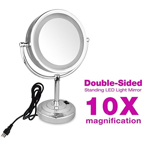 GURUN 8.5-Inch Tabletop Double-Sided LED Lighted Makeup Mirror with 10x Magnification, Plug -