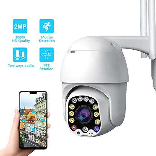 überwachungskamera Aussen, PTZ Kamera IP Dome Kamera, Bewegungserkennung, Zwei Wege Audio, IR-Nachtsich, IP66 wasserfest, Unterstützung SD Karten