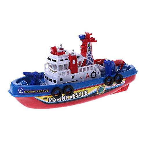 smallJUN Sprühen Wasser Elektrische Feuer Boot Simulation Schiff Warship Kinder Licht Musik Spielzeug Boot Rettungsboot Jungen Lernspielzeug