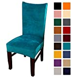 smiry Velvet Stretch Dining Room Chair Covers Soft Removable Dining Chair Slipcovers Set of 2, Peacock Green