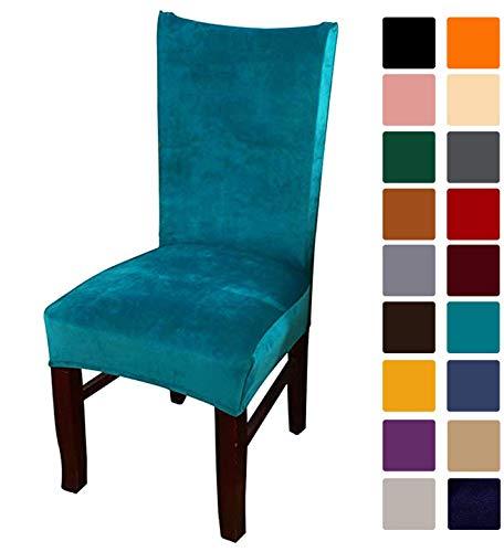 smiry Velvet Stretch Esszimmer Stuhlhussen, Weiche abnehmbare waschbar Esszimmerstühle Schonbezüge, 6er Set, Pfauenblau