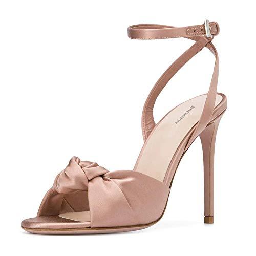 Slingback Stiletto Satin Pumps, MWOOOK-1061 Sexy High Heel Knöchelriemen Sandalen Pumps Peep Toe Schuhe,Nude,42