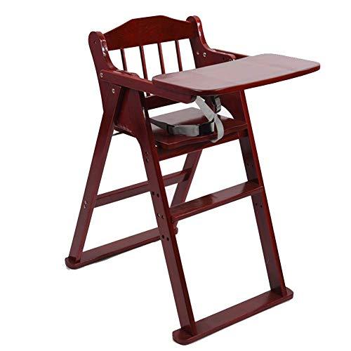 F2 Baby hoge stoelen eettafel stoelen opvouwbare draagbare massief hout gratis installatie Home (kleur: ongeschilderd, Maat: Large) Large bordeauxrood (wine red)