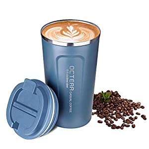 OCTERR マグカップ 保温 コーヒーカップ コンビニカップ 携帯マグ 保冷 タンブラー 真空断熱 ステンレス製 蓋付き 持ち運び 直接ドリップ プレゼントに 510ML ブルー