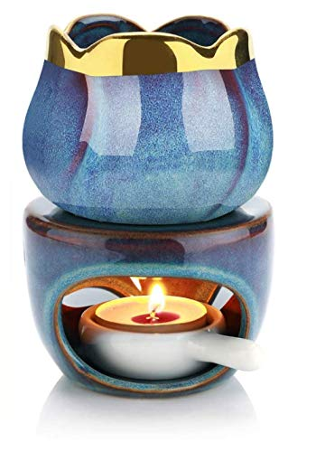 Melt Burners Essential Oil Burner, Aromatherapy Aroma Burner Ceramic Oil Diffuser Candle Tealight Holder Home Bedroom Decor Christmas Housewarming Gift(1 Set DEEP Blue)