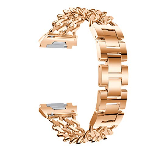 ibasenice Armband für Fitbit Ionic, Smart-Uhrenarmband Ersatzarmband verstellbares Armband zweireihiges Cowboy-Kettenarmband fit für Fitbit Ionic (Roségold)