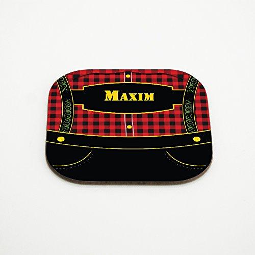 Motiv-Untersetzer mit Namen Maxim und bayerischem Lederhosen-Motiv für Männer